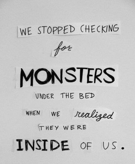 are the monsters in our life A lot of life is dealing with your curse, dealing with the cards you were given that  aren't so nice does it make you into a monster, or can you temper it in some.